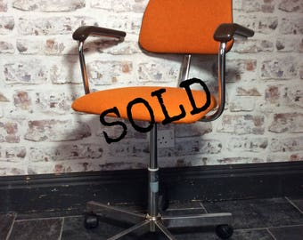 SOLD. Vintage mid century retro industrial swivel office chair by ROC Historic furniture makers of Birmingham