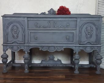 Antique Ornate Buffet, Wood Carved Server, Hand Painted and Distressed in Layers of Gray Over Graphite