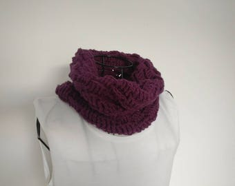 Purple Cowl Snood Crochet Ladies Girls Handmade
