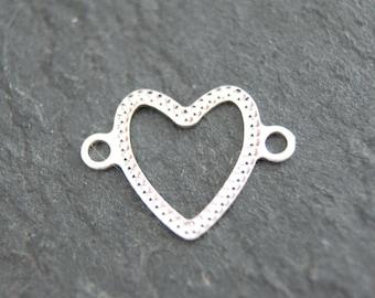 2pcs. 925 Heart diamant cut 10mm Sterling #4656