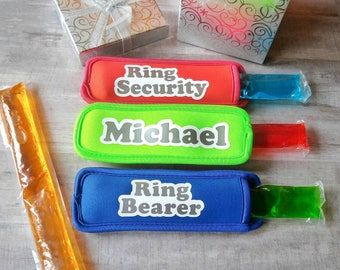 Ring bearer gift - freezer pop holder - personalized wedding - will you be my ring bearer - ring security - will you be my ring security