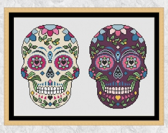 Sugar skull cross stitch pattern, two candy skulls Halloween cross stitch chart, Mexican Day of the Dead, printable modern instant download