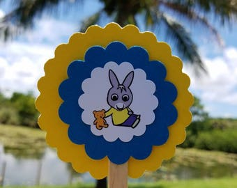 """Trotro Cupcake Toppers - Large 3"""" Handmade (Qty 12) Blue & Yellow"""