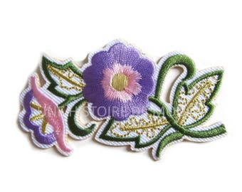 1 badge, patch fusible purple flowers to sew or iron 83 x 48 mm