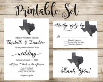 Charcoal Texas Wedding Invitation Printable Set
