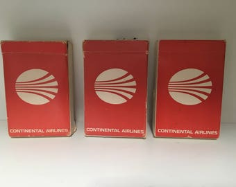 vintage Continental Airlines deck of playing cards (3), set of 3, airline cards, card games, red and white