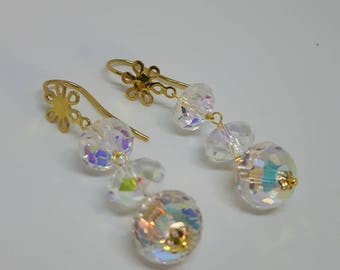 Silver earrings with Aurora borealis crystals, pendant earrings