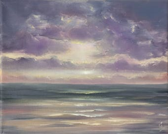 Small Purple Oil Painting, Coastal Landscape, Sunrise over Ocean Painting, Surf Art, Seascape, Beach Art, Ocean Scene, Ocean of Love