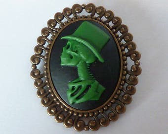 broche gothique camée tattoo inked Mr Skull vert noir squelette monsieur haut de forme tête de mort gothic goth vampire psychobilly
