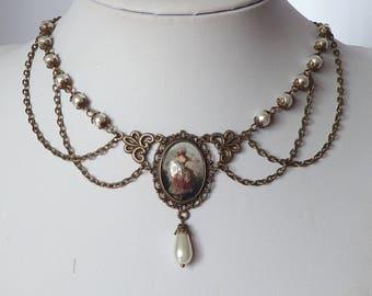 victorian cameo and pearls necklace collier victorien camée verre et perles en verre nacrées