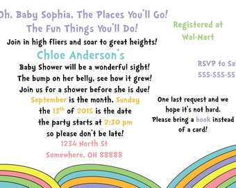 Baby Shower Invitation - Oh The Places You'll Go - Dr. Seuss