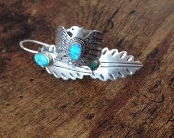 Blue SFire Spirit Warrior Ring & Turquoise Features Earrings Set