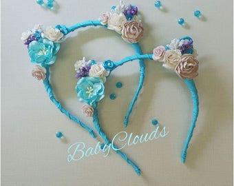 SET of 2 -Flower cat ears headband, floral cat ears, cat ears headband, festival, ariana grande, Rose Cat Ears