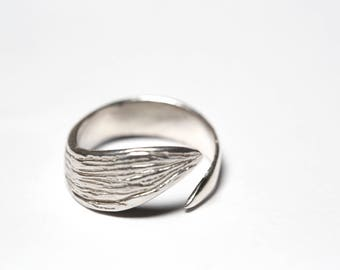 leaf ring in sterling silver, original ring, open ring