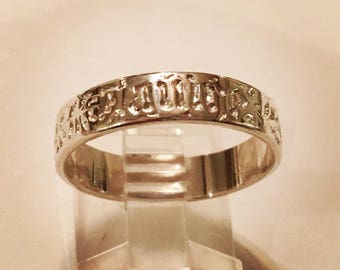 "Sterling Silver French Poesy Eternity Band Flower Ring ""Vous Et Nul Autre"" which means ""You and No Other"""