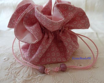Small Pink Cotton Bag,  Gift Bags, Jewelry Bags, Wedding Favor Bags,Stofftasche