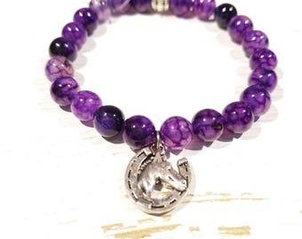 Purple Dragons Vein Agate Healing Gemstone Bracelet