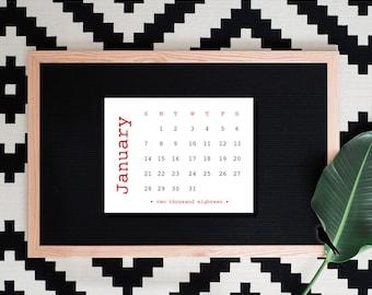 2018 Printable Desk Calendar - Typewriter Calendar - Red, Vintage Type, Fun, 12 Month Calendar - Writer's Calendar - Instant Download