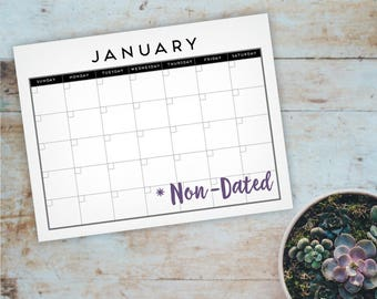 Modern Printable Monthly Calendar - Non-Dated Monthly Wall Calendar - A4 Calendar, Letter Calendar - Instant Download