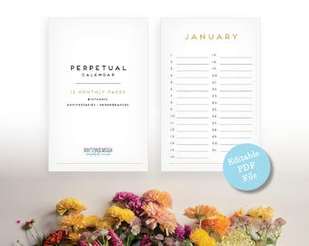 Art Deco Perpetual Calendar - Editable Eternal Birthday Calendar - Anniversary Calendar - Eternal Planner - Instant Download PDF