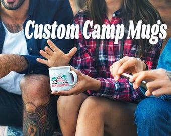 Farmhouse Custom Enamel Camp Camper Coffee Mugs