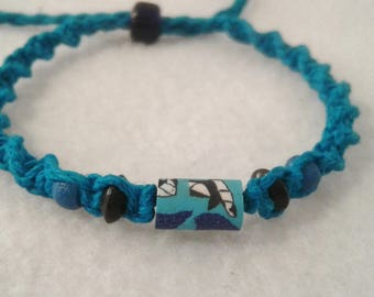 Blue Whale Tail Clay Bead Hemp Bracelet