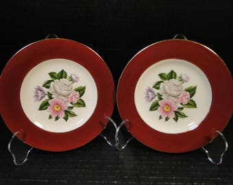 "TWO Homer Laughlin Cavalier Margaret Rose Maroon Bread Plates 6 1/4"" Set of 2 EXCELLENT!"