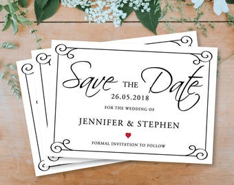 Simply Personalised Save The Date - Printable Download - PDF Download