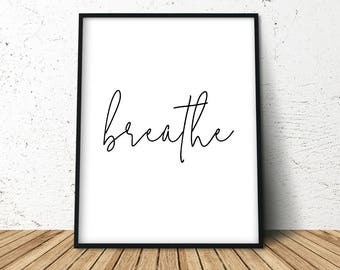 Breathe Print, Minimalist Typography Art, Pilates Art, Relaxation Gifts, Yoga Art for Home, Yoga Quotes Wall Art, Instant Download