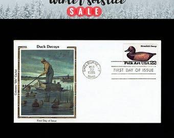 US 2138 American Folk Art: Broadbill Duck Decoy Mar 22, 1985 Shelburne VT - Colorano  - First Day Cover lot #F2138-2