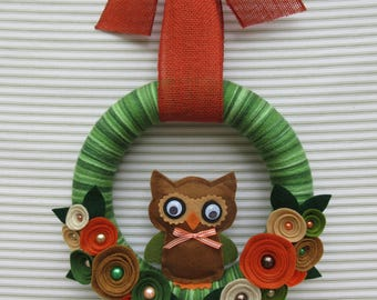 Owl Wreath, Fall Wreath, Autumn Wreath, Brown Owl Wreath, Green Owl Wreath, Yarn Wreath, Felt Flower Wreath, Harvest Wreath