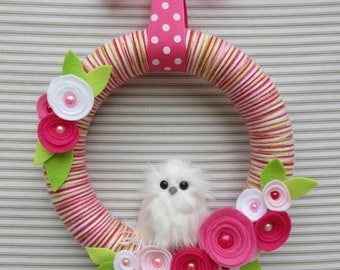 Owl Wreath, White Owl Wreath, Pink Owl Wreath, Yarn Wreath, Pink Striped Yarn Wreath, Felt Flower Wreath, Snowy Owl Wreath