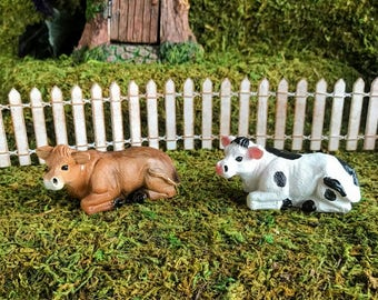 Miniature Cow Lying Down - Your Choice of Brown or Black & White!