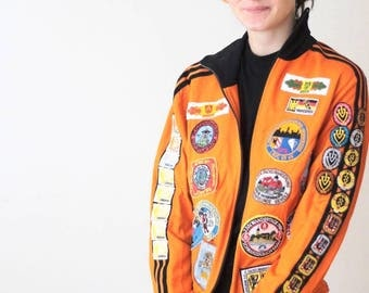 vintage 70s adidas jacket with 70s 80s patches all over vintage adidas