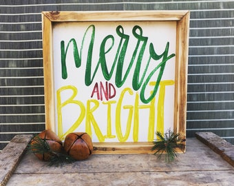 Merry and Bright | Small Rustic Sign | Home Decor | Mantle Sign | Gallery Wall