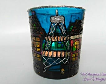 Paris, doodle house, hand painted, glass, candle holder, whimsical art, gift, home decor