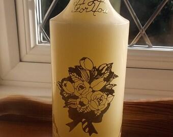 "9"" cream pillar candle hand decorated"
