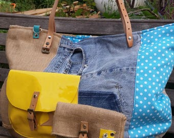 LARGE BURLAP, LINEN, DENIM AND YELLOW LEATHER TOTE BAG