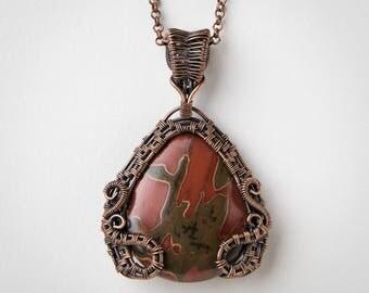 Wire Wrapped Pendant - Copper Jewelry - Red Creek Jasper