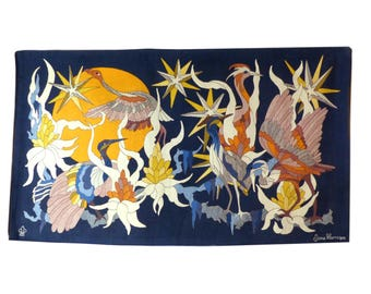Birds at sunset tapestry - Fantasy french tapestry by Jane lay