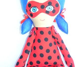 Doll inspired by LadyBug, dolls, cloth doll