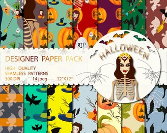 Halloween Paper Pack, Fall Backgrounds, Cute Pumpkins, Digital Seamless Patterns, Happy Halloween, Witch Black Cat Moon, Commercial use