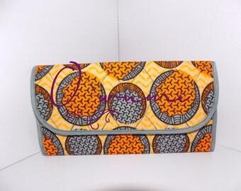 Greyish Circles Wallet, African Fabric Wallet, Fabric Wallet, African Print Wallet