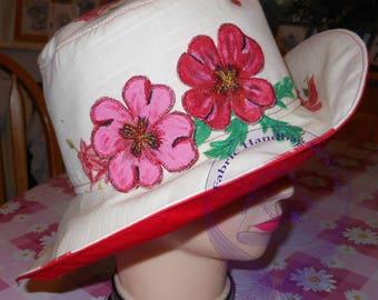 Red Poppy Embroidered Floral Hat, Decorative, Cream, Sun Hat, Medium, Fashion, Women's Summer Hat, Wide Brim, Flower, Sun Shade, Gift.