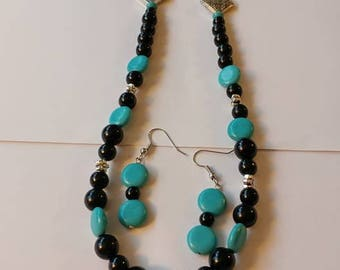 Black and Turquoise Beaded Necklace