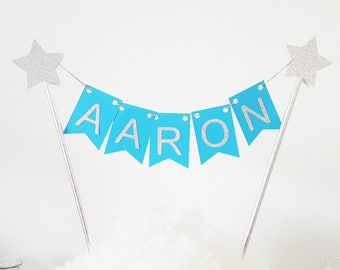 Decoration - Garland name for cake - turquoise and silver - stars
