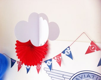 a cloud hanging 3D large model - white paper 210 gr - 4 sides