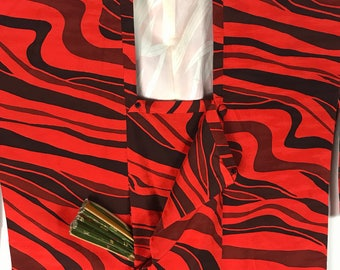 D766 Vintage Japanese Haori Kimono Womens Silk Cardigan Jacket Black Orange