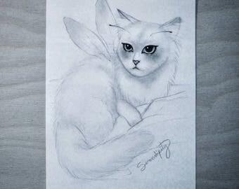 "Pixie Cat pencil Illustration 8.5""x5.5"""