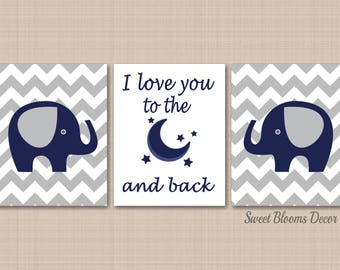 Navy Gray Elephant Nursery Wall Art,Elephant Nursery Wall Art,Elephant Wall Art,Chevron Elephant Nursery Decor- UNFRAMED set of 3 C144